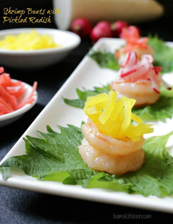 Shrimp Boats with Pickled Radish - Bam's Kitchen