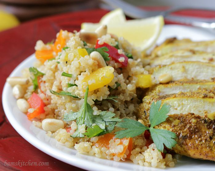 Moroccan Grilled Chicken and Pine Nut Quinoa Salad / http://bamskitchen.com