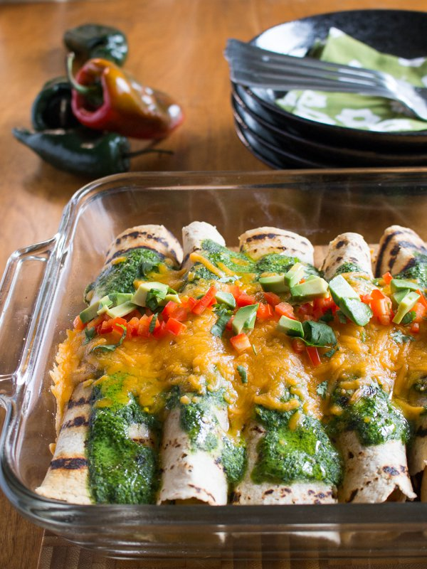 Chicken Enchilada with Fire Roasted Poblano Peppers / http://bamskitchen.com