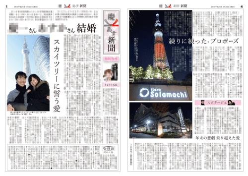 2015年1月に制作した一般紙風の結婚新聞(表面)