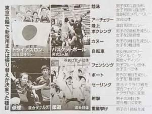 東京五輪での新採用、または振り替えとなる種目一覧