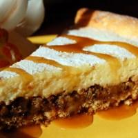 tarta cu branza, nuci si caramel