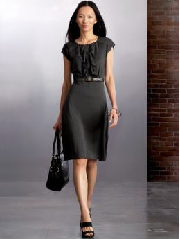 Women: Silk ruffle dress - Wood ash