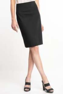 Women's tall: Tall high-waisted lightweight wool skirt - Black