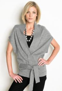 Women's tall belted cardigan - Gray heather