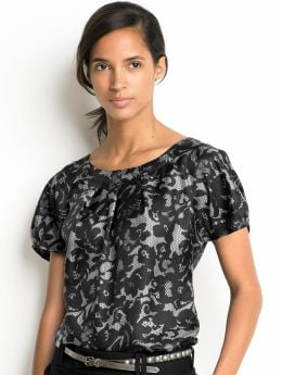 Women's tall: Tall silk lace-print top - Black combo