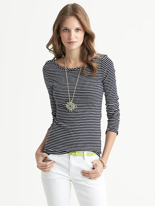Banana Republic Mini Stripe Timeless Tee - True navy