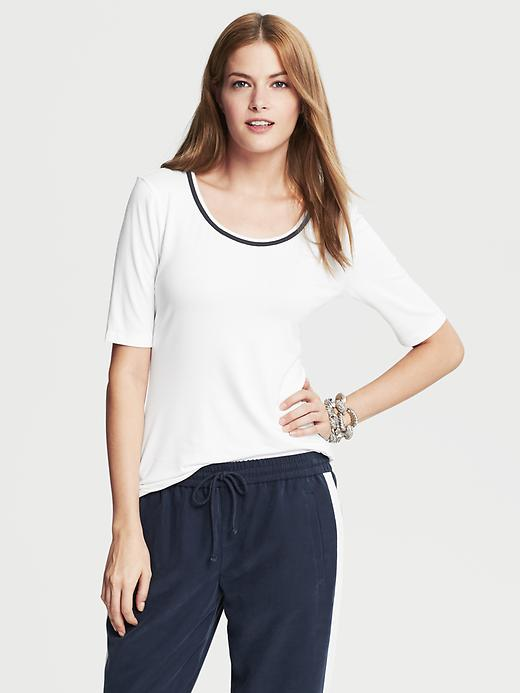 Banana Republic Elbow Sleeve Piped Tee - White