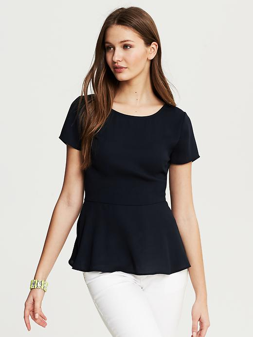 Banana Republic Navy Peplum Top - True navy