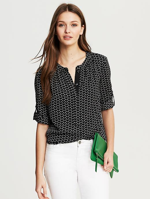 Banana Republic Heart Print Blouse - Black
