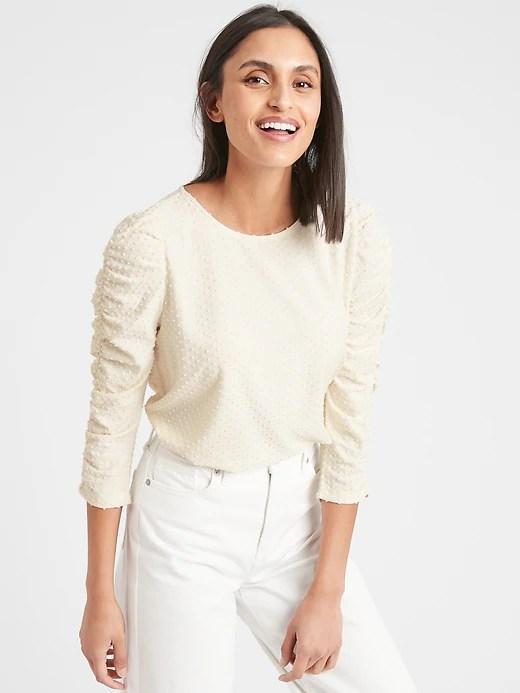 Textured Dot Shirred-Sleeve Top