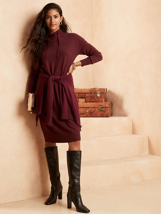 Image number 1 showing, Funnel-Neck Sweater Dress