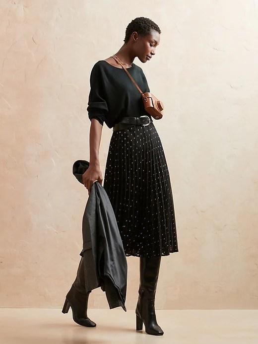 Foil Metallic Pleated Midi Skirt