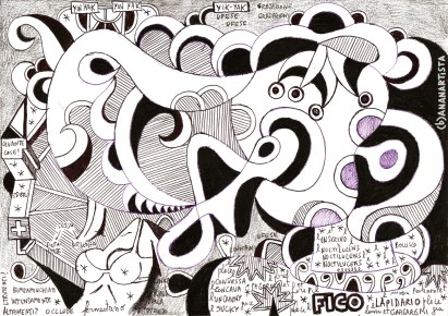 """SONO UN FICO LAPIDARIO"" - (b)ananartista orgasmo SBUFF - mixed media on paper - http://www.bananartista.com"