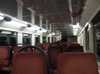 Inside a train on RER Line B, quite empty as it was somewhat late at night.