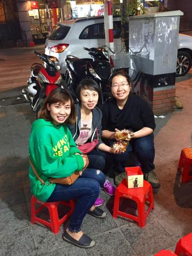 May and Annie with food tour guide Chili