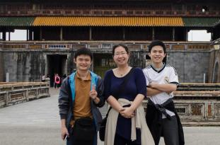 Annie with tour guides in Hue, Tam and Duan