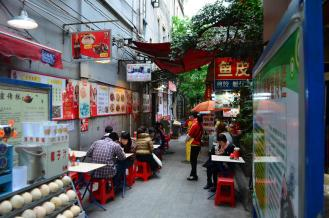 Narrow alleys with street food booths