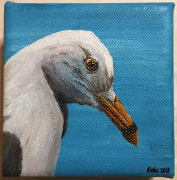 "Ring-billed gull, 2013, Acrylic ink on canvas, 4""x4"". Copyright Rebe Banasiak, The Brush Hilt and Banasiak Art Gallery."
