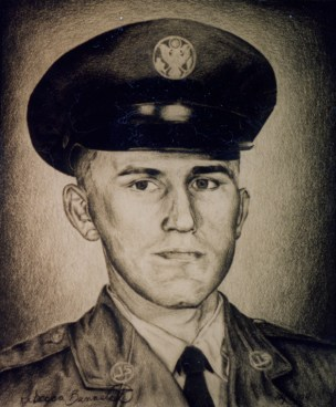 Portrait of my dad in his Air Force uniform, 1994, Graphite on paper. Copyright Rebe Banasiak, The Brush Hilt and Banasiak Art Gallery.