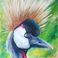 Crowned crane, 2015, Acrylic ink on aquaboard, 6″x6″. Copyright Rebe Banasiak, The Brush Hilt and Banasiak Art Gallery.