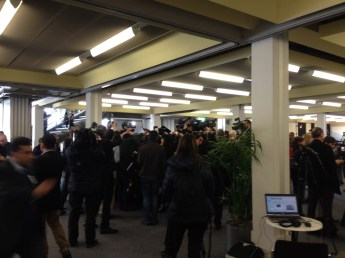 Crazy scrum at press centre in Montreux