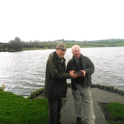 BAC Bruce Carson Trophy 1 April 2017 Joe McCandless, President presents Joe Curran with the Bruce Carson Trophy at Corbet Lough