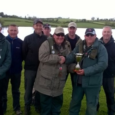 BAC The Corbet Lough Challenge Cup 20 May 2017 - Martin Dynes presents the Cup to The Black Pennel anglers