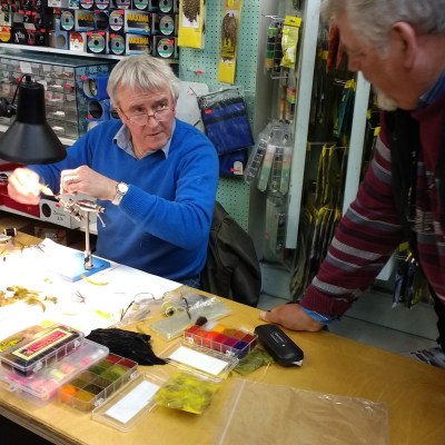 BAC Coburns 22 April 2017- Frankie McPhillips and Freddie Steele discussing traditional Mayfly patterns