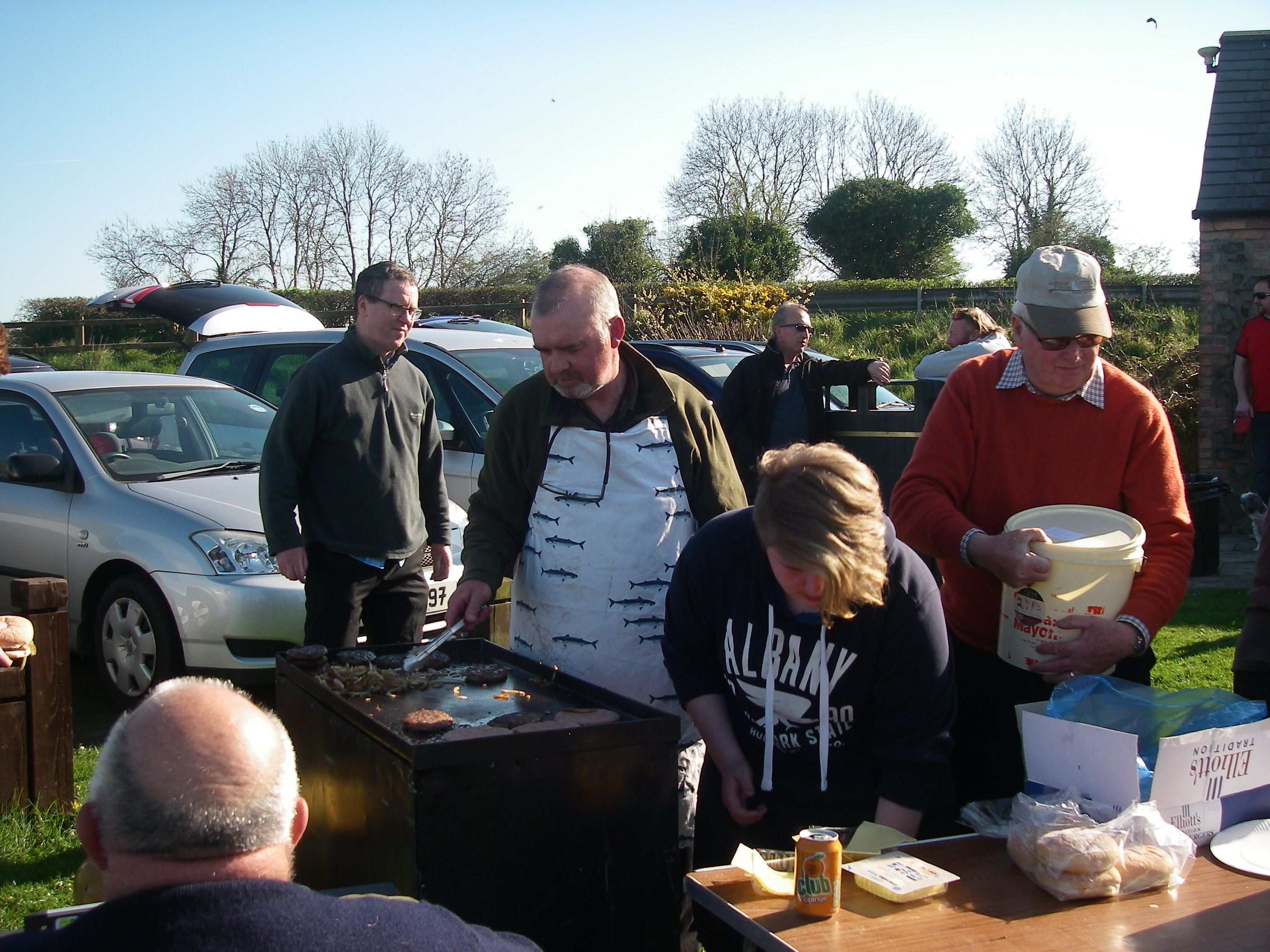 BAC Friendship Cup Corbet Lough 8 April 2017 - Geoff Hylands, Imogen Johnston and Henry McKnight looking after the BBQ