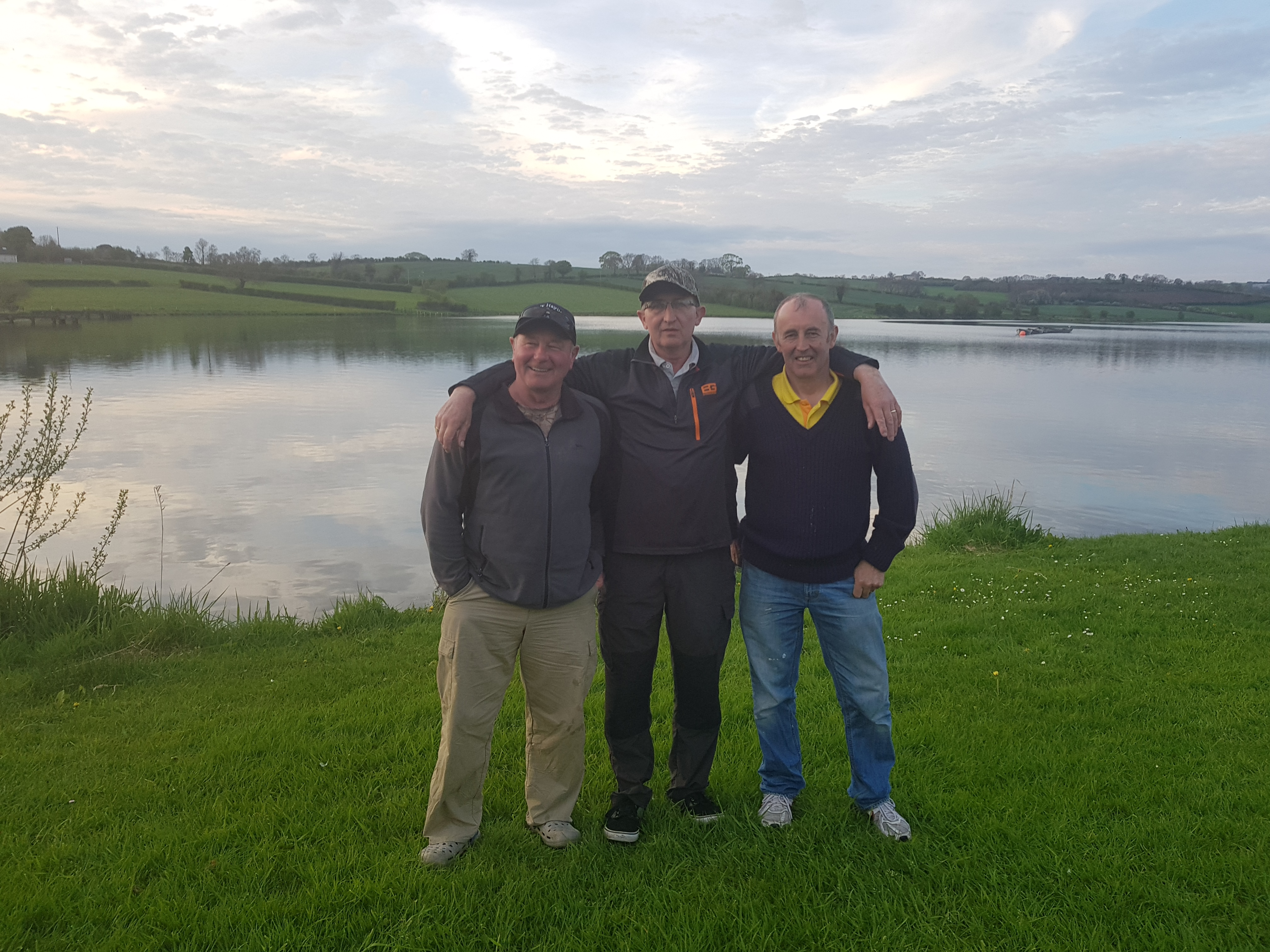 BAC Jos Willis Cup (Adults) Monday 7 May 2018 at Corbet Lough L-R Noel Burns, 3rd; Colin Crothers 1st and Dessie Graham, 2nd