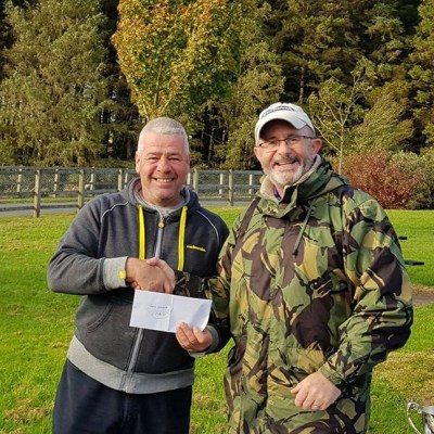 BAC Friendship Cup 2018 at Seaghan Dam on 29 September 2018 - Aidan Donnelly presents Frank Kearney with the Heaviest Bag Prize