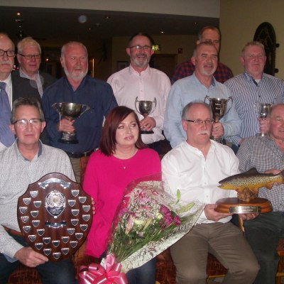 BAC Colin Crothers, Angler of the Year 2018, Special Guest Sharon Murtagh, Sam Watt, Chair and some of the Club's other prize winners 2018