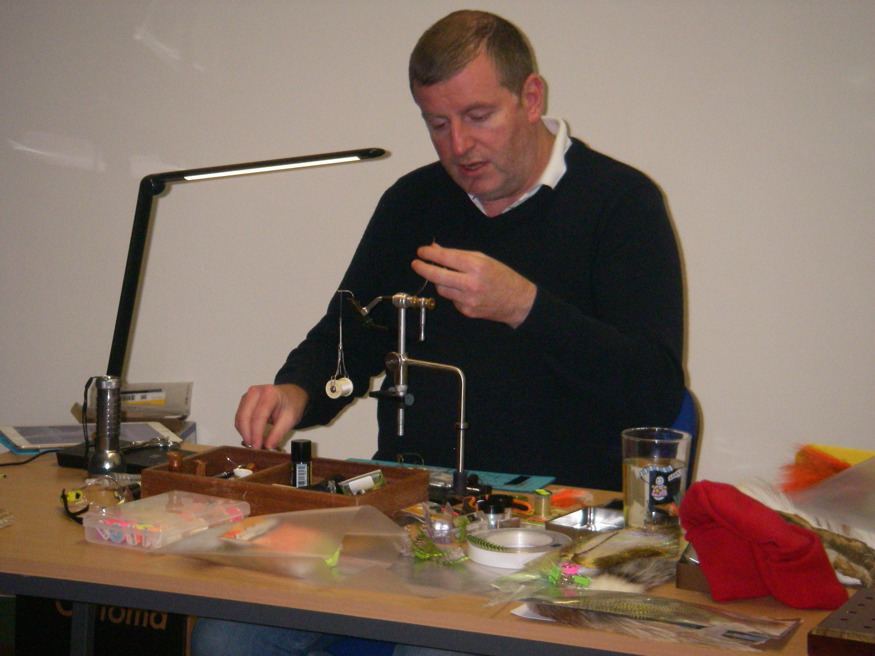 BAC John Johnston, Special Guest Fly Dresser demonstrating to the Fly Tying Class on 31 January 2019