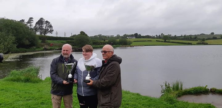 BAC - Juvenile and Junior Prize Distribution at Corbet Lough on 30 May 2019 - Joe Curran, Secretary and Wilson Clinghan, Assistant Competition Secretary with Imogen Johnston, Juvenile Angler of the Year 2018