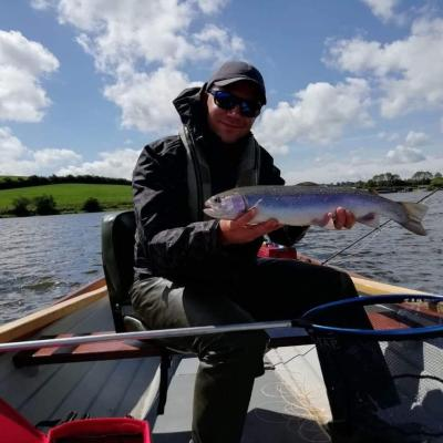BAC - Derek Curran with a nice Rainbow caught at the Corbet Lough on 20 June 2020