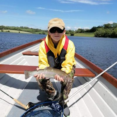 BAC - A great Rainbow caught by a juvenile angler boat fishing at the Corbet Lough on 20 June 2020