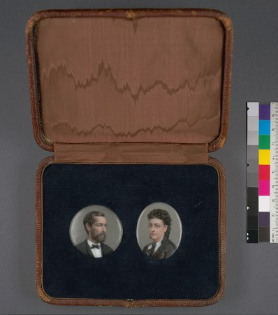 Hill, Thomas. Painted miniatures of Mr. and Mrs. Mark Hopkins (186-). BANC PIC 1982.093--CASE. Courtesy of The Bancroft Library, University of California, Berkeley ONLINE
