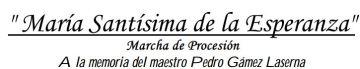 """Cabecera de la partitura de la marcha """"Mª Stma. de la Esperanza"""". Foto: B.M. Esperanza (Córdoba)."""