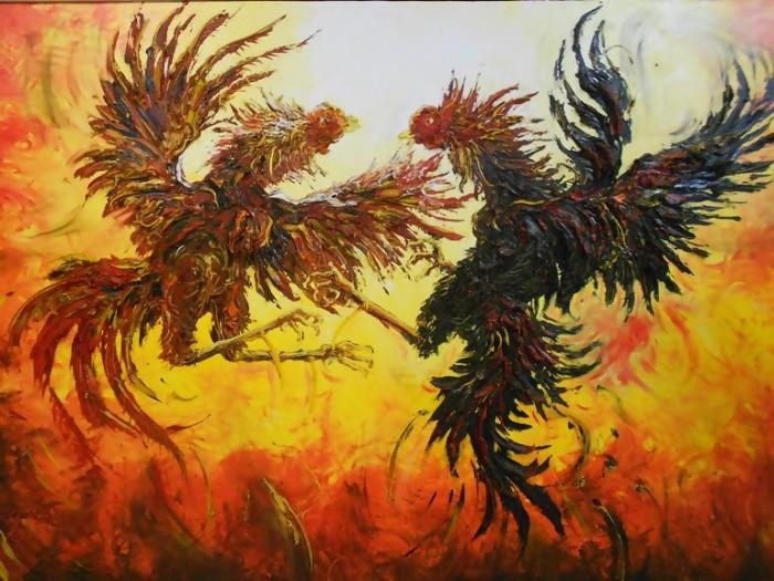 Lukisan Ayam Tarung Sabung