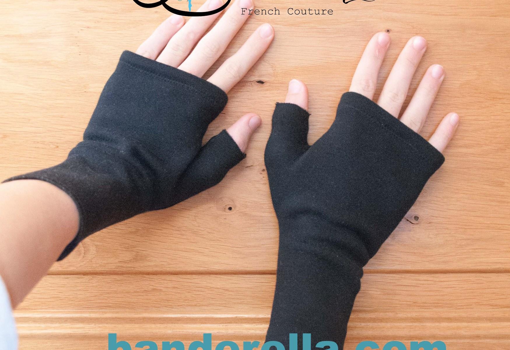 Computer Handschuhe fingerlos von Banderella mit Baumwolle und Kuschelplüsch