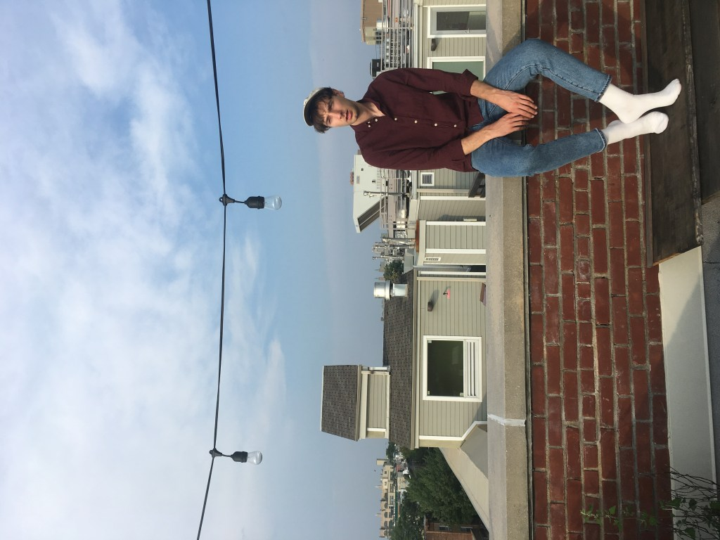 Jeremy Neale on the roof of his Airbnb in Bushwick