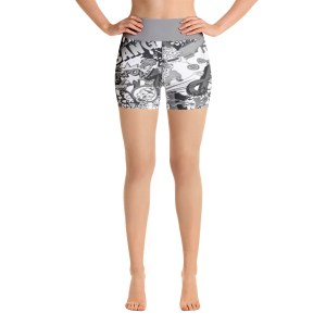 Monochrome Thought Bubbles Yoga Shorts