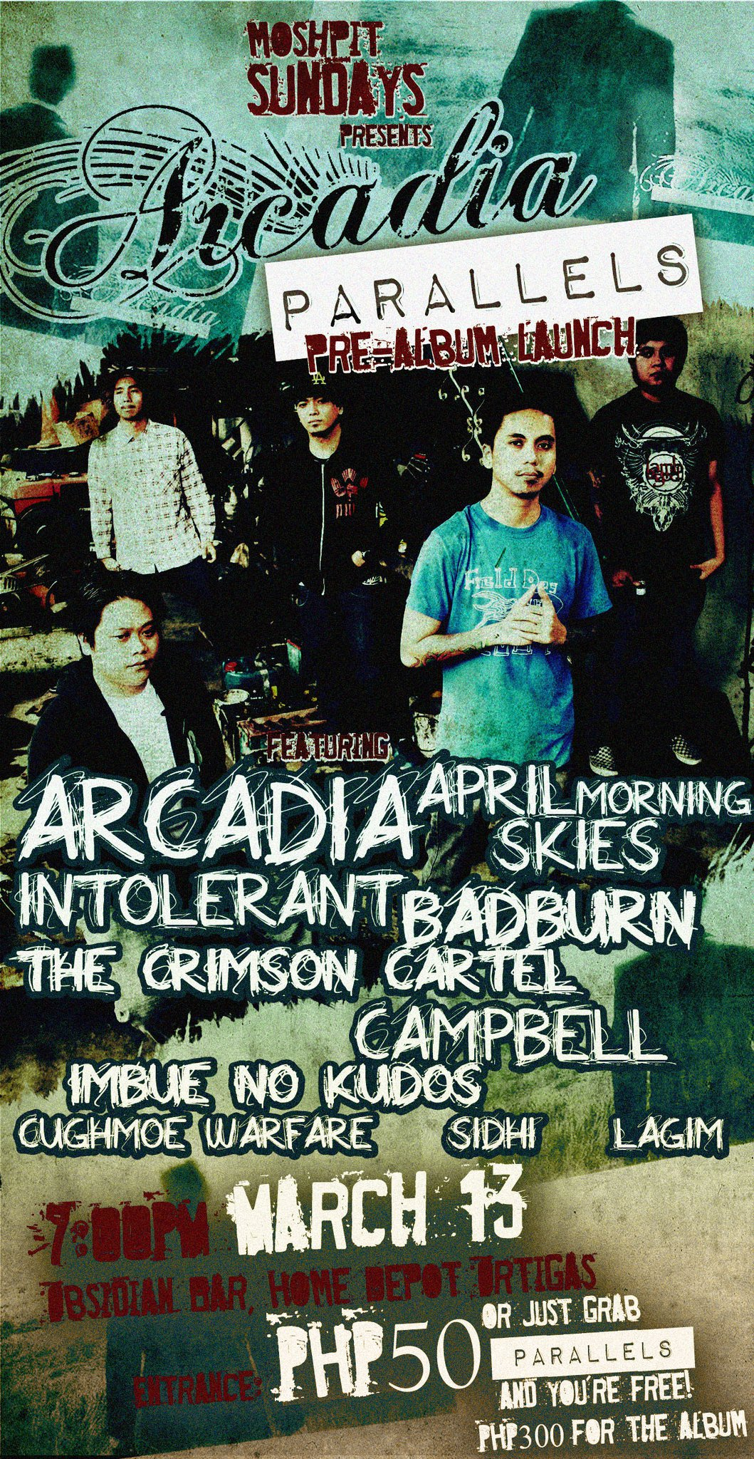"OBSIDIAN BAR TURNS ONE! NIGHT 3: MOSHPIT SUNDAY presents ARCADIA's ""PARALLELS"""