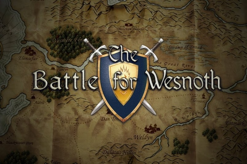 Battle for Wesnoth logo na mapie ciemne