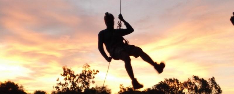 Gokul Ramachandran - on a overhang rappel - Badami