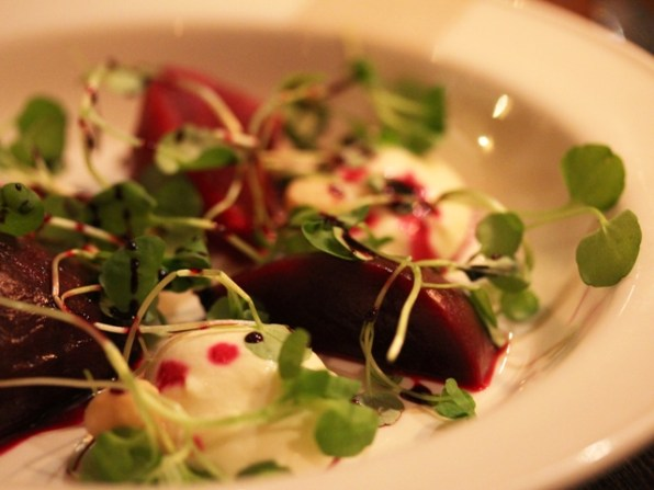 Pickled beetroot with whipped goats cheese