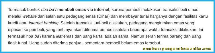 jual beli emas lewat internet menurut islam
