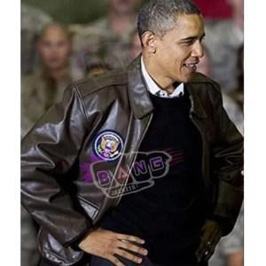 Get Barack Obama Mens A 2 Flight Brown Genuine Leather Bomber Jacket