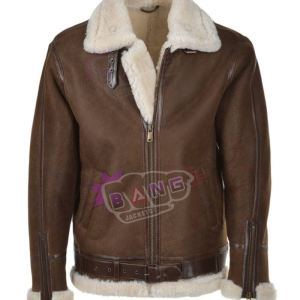 Get Mens Brown Gliding Shearling Bomber Leather Jacket